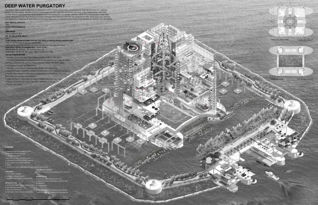 Чистилище на глубоководном участке (Deep Water Purgatory). Автор: Christopher Wijatno, WOHA (Сингапур). Победитель категории «Цифровой рисунок» премии The Architecture Drawing Prize 2017