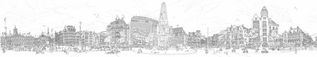 360 Degrees Panorama of the Dam Square. Автор: Elles Middelians, Studio Ellessi (Нидерланды)