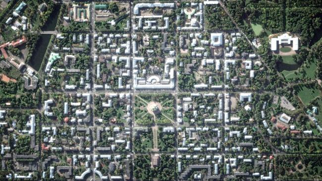 Housing construction in the center of Pushkin. Satellite photography © Studio 44