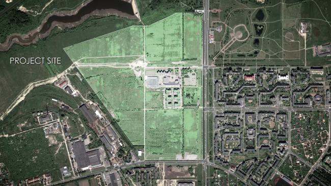 Спутниковый снимок участка под застройку. Жилой микрорайон в Пушкине © Студия 44