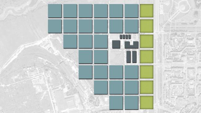 Схема разбивки на базовые квадраты. Жилой микрорайон в Пушкине © Студия 44