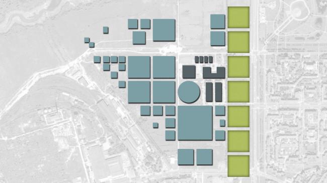 Схема застройки. Введение дополнительных элементов. Жилой микрорайон в Пушкине © Студия 44
