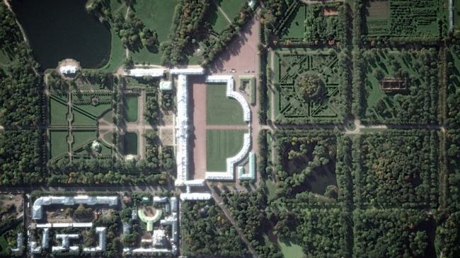 Фрагмент Екатерининского парка на спутниковом снимке. © Студия 44