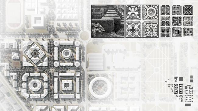 План фрагмента застройки с историческими прототипами. Жилой микрорайон в Пушкине © Студия 44