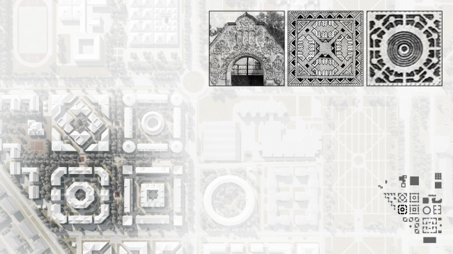 Plan of the construction fragment with historical prototypes. Residential area in Pushkin © Studio 44