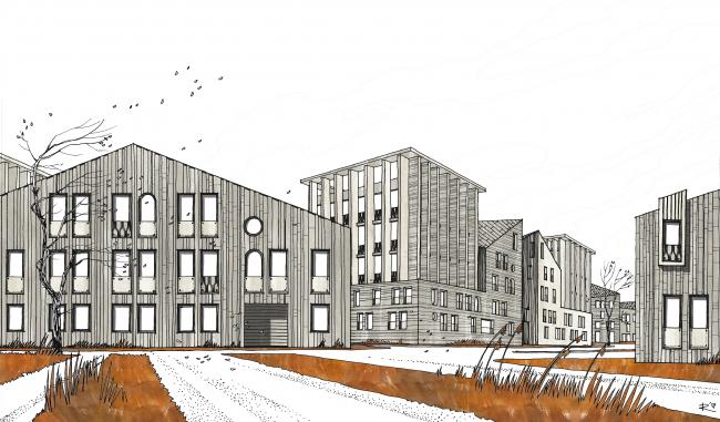 Эскизные вариант визуализации застройки жилого микрорайона в Пушкине © Студия 44