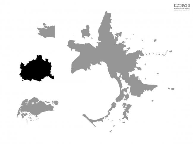 Сравнение площади территории городов в официальных границах. Слева (сверху-вниз): Вена, Ванкувер, Сингапур. Справа: Мельбурн