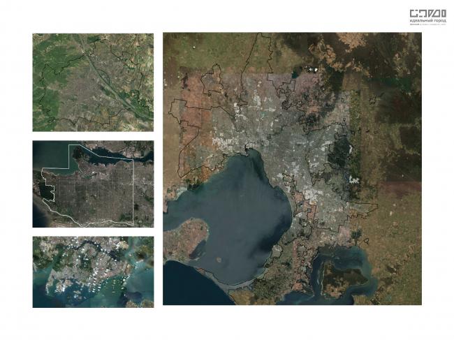 Сравнение территорий городов на спутниковых снимках. Слева (сверху -вниз): Вена, Ванкувер, Сингапур. Справа: Мельбурн