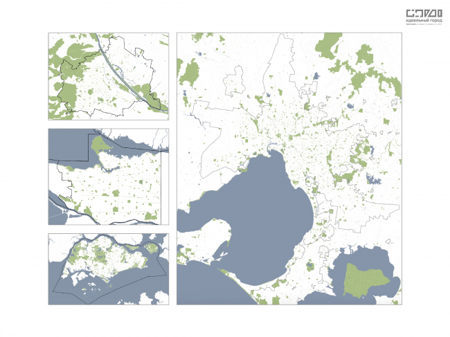 Сравнение «зеленых зон» или природного каркаса городов. Слева (сверху-вниз): Вена, Ванкувер, Сингапур. Справа: Мельбурн