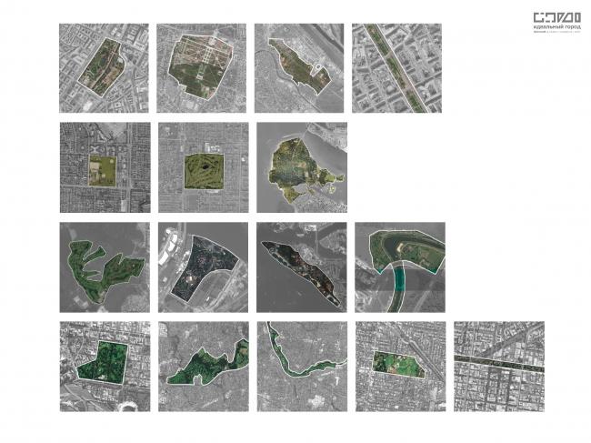 Сравнение «зеленых зон» в городах. Сверху-вниз: Вена, Ванкувер, Сингапур, Мельбурн. Если смотреть на эти схемы, по всем городам, кроме Сингапура, предпочитают стратегию малых дел или микровключений, которые компенсируют отсутствие больших парков, больших зеленых территорий в городе. А Сингапур сделал один большой парк в центре, до которого всем быстро доехать или дойти.