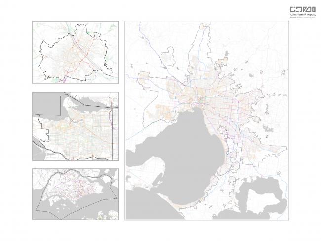 Сравнение транспортных каркасов городов. Слева (сверху-вниз): Вена, Ванкувер, Сингапур. Справа: Мельбурн