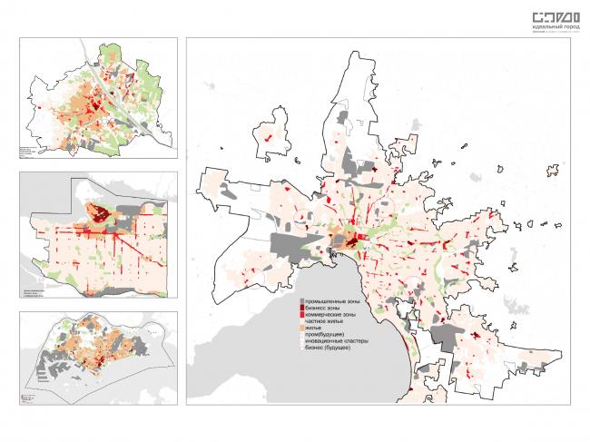 Сравнение функционального зонирования городов. Слева (сверху-вниз): Вена, Ванкувер, Сингапур. Справа: Мельбурн.