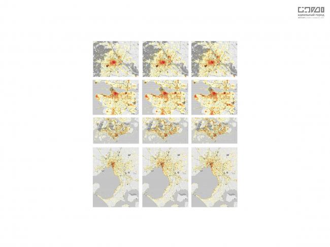 Схема центров социальной активности, полученная на платформе «Хронотоп», разработанной бюро Habidatum, показывает источники (локацию) сообщений в социальных сетях в конкретное время суток. Взяты данные за несколько суток июля 2016 года и, которые позволили определить места наибольшей активности в течении дня. Сверху-вниз: Вена, Ванкувер, Сингапур, Мельбурн.