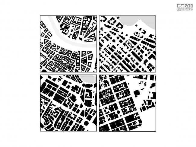Сравнение структуры застройки центральных тестовых квадратов. Верхний ряд: Вена, Ванкувер. Нижний ряд: Сингапур, Мельбурн