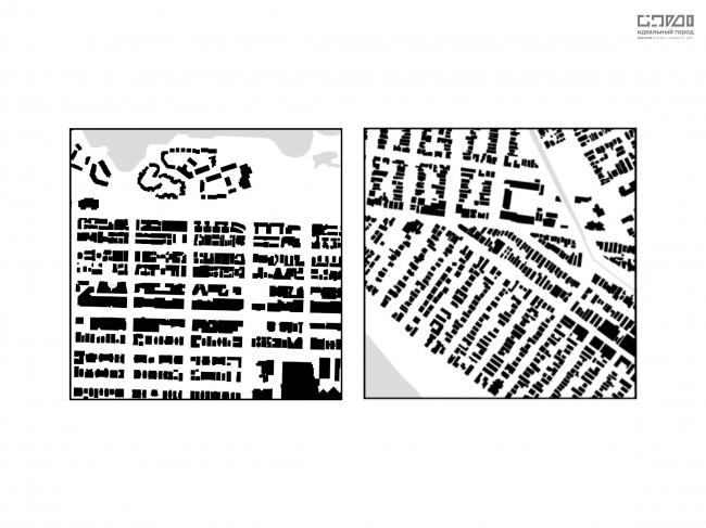 Сравнение структуры застройки окраинных тестовых квадратов. Слева-направо: Вена, Мельбурн