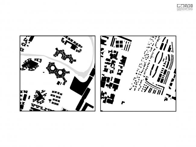 Сравнение структуры застройки срединных тестовых квадратов. Слева-направо: Ванкувер, Сингапур