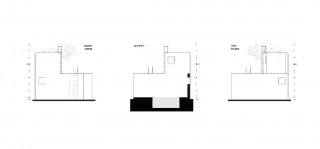 Летний павильон. Схемы фасадов. Разрез © Spirin architects