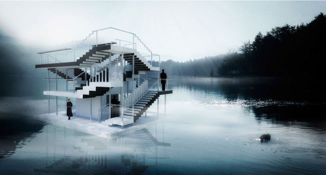 Two-story raft built for the Art-Ovrag Festival in Vyksa. The project was developed by the interns of the fourth internship of Wowhaus