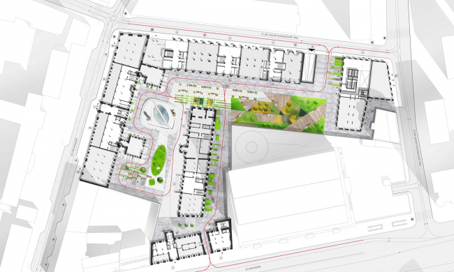Competition project for renovating the Sytin Printworks into a premium-class apartment and housing complex. Masterplan. Version 1. Private for the residents of the complex © Kleinewelt Architekten