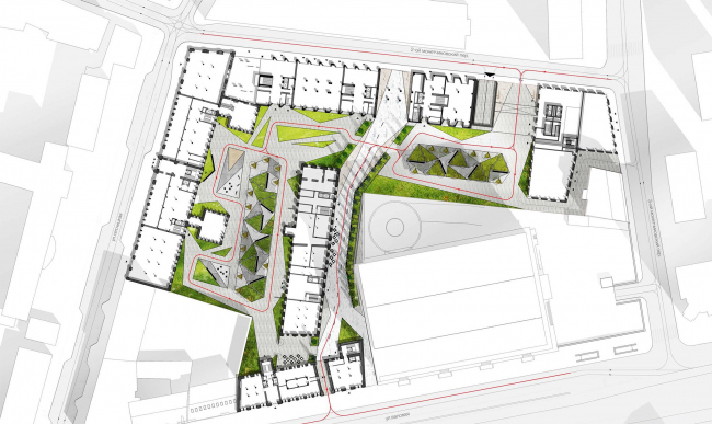 Competition project for renovating the Sytin Printworks into a premium-class apartment and housing complex. Masterplan. Version 2. Private for the residents but with a large public space © Kleinewelt Architekten