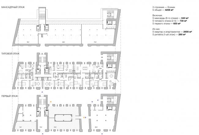 Конкурсный проект реновации типографии Сытина под комплекс квартир и апартаментов премиум-класса. План. Корпус Есенин © Kleinewelt Architekten