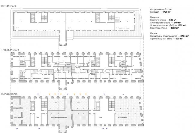 Конкурсный проект реновации типографии Сытина под комплекс квартир и апартаментов премиум-класса. План. Корпус Гоголь © Kleinewelt Architekten