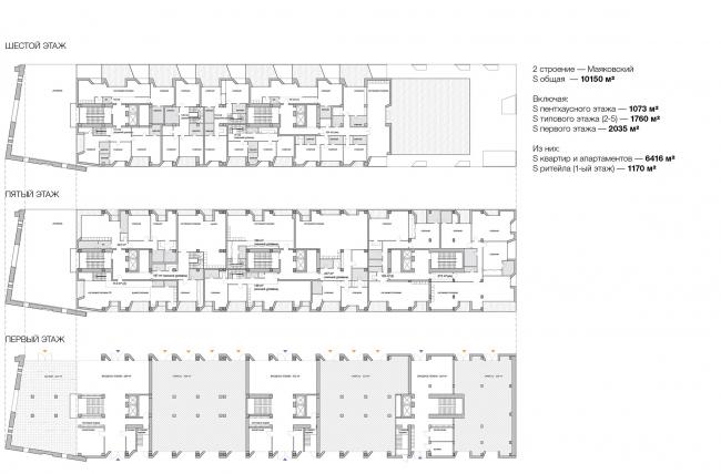 Конкурсный проект реновации типографии Сытина под комплекс квартир и апартаментов премиум-класса. План. Корпус Маяковский © Kleinewelt Architekten