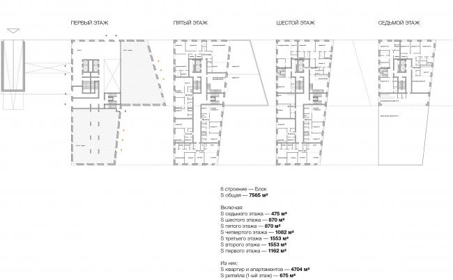 Конкурсный проект реновации типографии Сытина под комплекс квартир и апартаментов премиум-класса. Схема. Корпус Двенадцать Блока © Kleinewelt Architekten