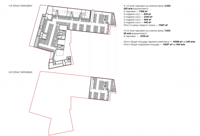 Competition project for renovating the Sytin Printworks into a premium-class apartment and housing complex. Plan of the underground floor © Kleinewelt Architekten