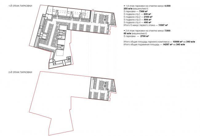 Конкурсный проект реновации типографии Сытина под комплекс квартир и апартаментов премиум-класса. План подземного этажа © Kleinewelt Architekten