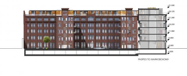 Конкурсный проект реновации типографии Сытина под комплекс квартир и апартаментов премиум-класса. Вид на корпус Толстой со двора © Kleinewelt Architekten