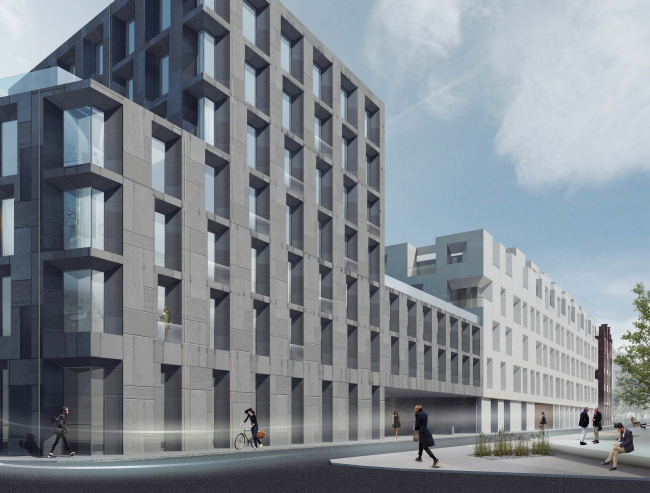 """Competition project for renovating the Sytin Printworks into a premium-class apartment and housing complex. Blok's """"The Twelve"""" building © Kleinewelt Architekten"""