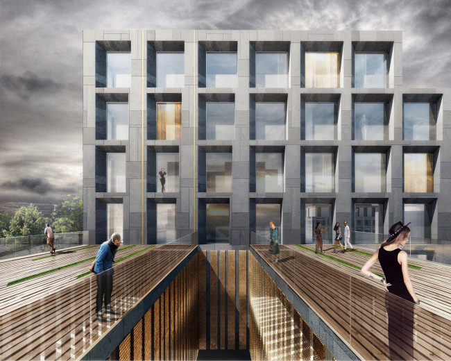 """Competition project for renovating the Sytin Printworks into a premium-class apartment and housing complex. Blok′s """"The Twelve"""" building © Kleinewelt Architekten"""