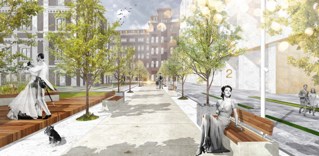 Competition project for renovating the Sytin Printworks into a premium-class apartment and housing complex. Landscaping. Version 1 © Kleinewelt Architekten