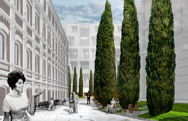 Конкурсный проект реновации типографии Сытина под комплекс квартир и апартаментов премиум-класса. Благоустройство. Вариант 2 © Kleinewelt Architekten