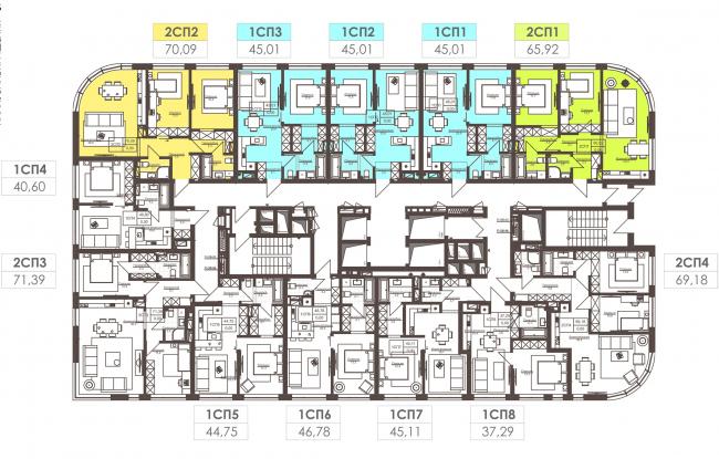 Жилой комплекс White Lines. Типовой жилой  3-5 этаж © Архиматика