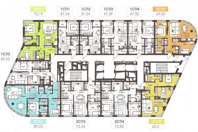 Жилой комплекс White Lines. Типовой 1-5 этаж © Архиматика