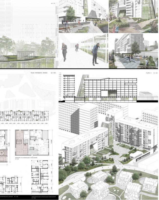 Проект многофункционального комплекса Ксении Ашитко. МАРХИ, 2017