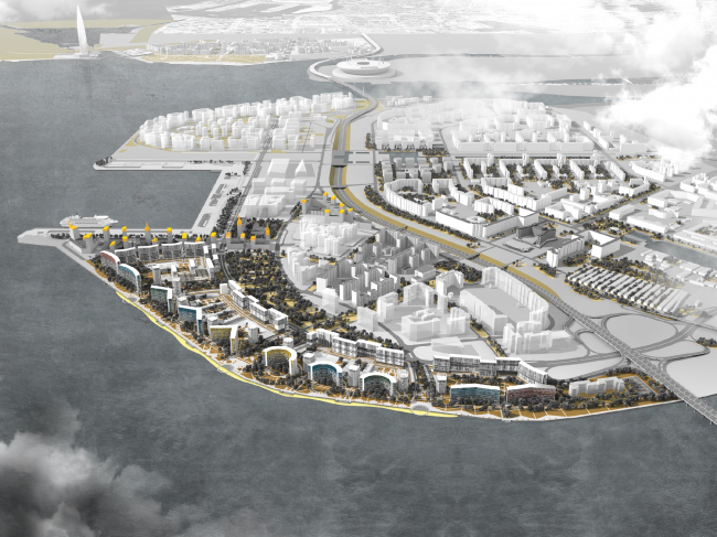 The concept of developing the alluvial lands in the west part of the Vasilyevsky Island. Copyright: © Studio 44