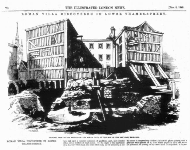 Римские купальни, обнаруженные в 1848 году. Опубликовано в Illustrated London News, 5 февраля 1848