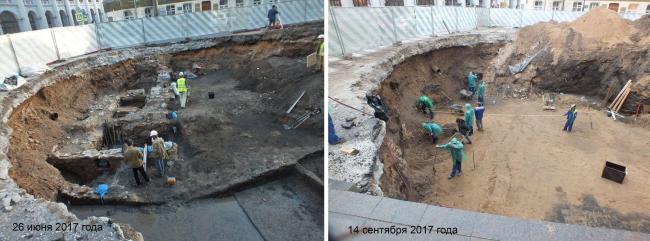 Разрушение руин храма Благовещения на Биржевой площади, 2017 © Архнадзор
