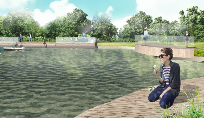 The project of landscaping the Golitsynsky Creek in the Gorky Park © People′s Architect