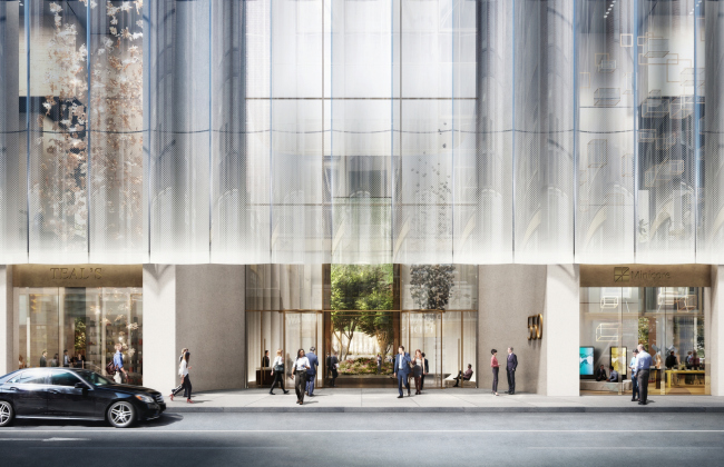 550 Мэдисон-Авеню, вид с западной стороны на обновлённый фасад © DBOX