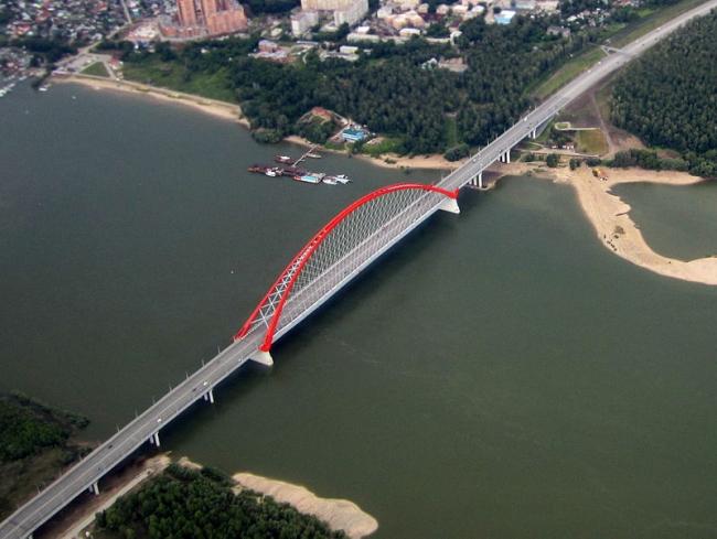 Бугринский мост. Фото: Alexey Salmin  via Wikimedia Commons. Лицензия CC BY-SA 4.0