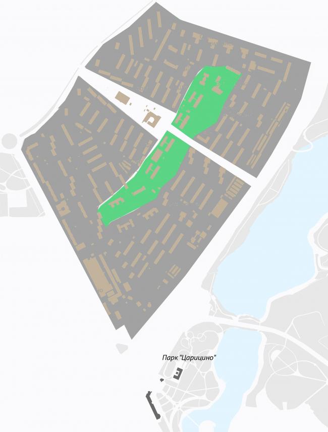 Концепция реорганизации кварталов территории 2А, 2 Б района Царицыно. Принцип сохранения существующей структуры © ТПО «Резерв»