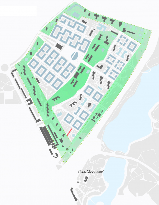 Концепция реорганизации кварталов территории 2А, 2 Б района Царицыно. Принцип взаимодействия новой застройки и сложившейся среды © ТПО «Резерв»
