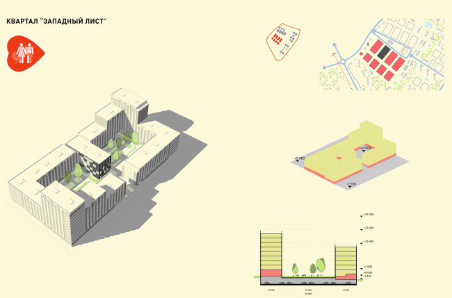 Концепция реорганизации кварталов территории 2А, 2 Б района Царицыно. Квартал «Западный лист» © ТПО «Резерв»