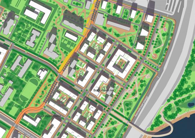 Концепция реорганизации кварталов территории 2А, 2 Б района Царицыно. Квартал «Восточный лист» © ТПО «Резерв»