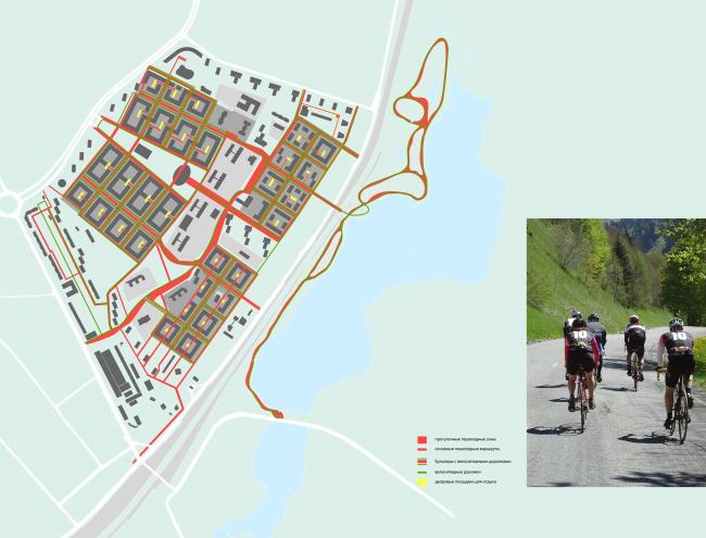 Концепция реорганизации кварталов территории 2А, 2 Б района Царицыно. Пешеходный и велосипедные маршруты © ТПО «Резерв»
