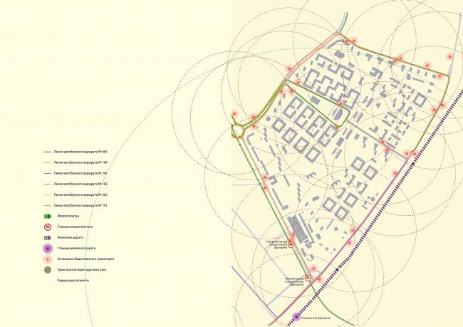 Концепция реорганизации кварталов территории 2А, 2 Б района Царицыно. Общественный транспорт © ТПО «Резерв»